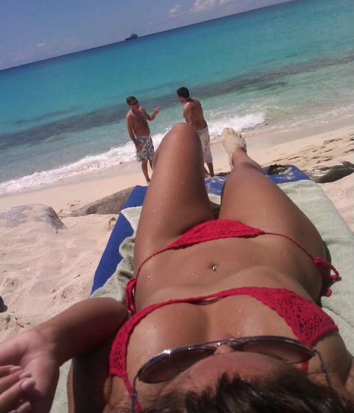 Jessica Burciaga in a red knit bikini